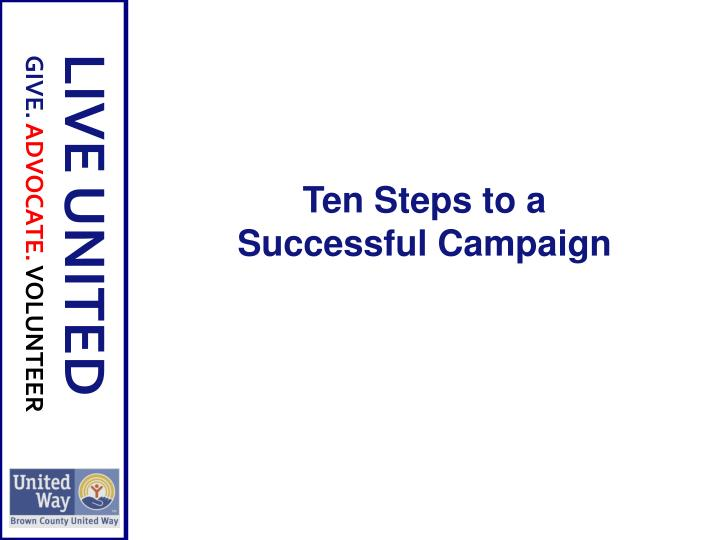 Ten Steps to a Successful Campaign