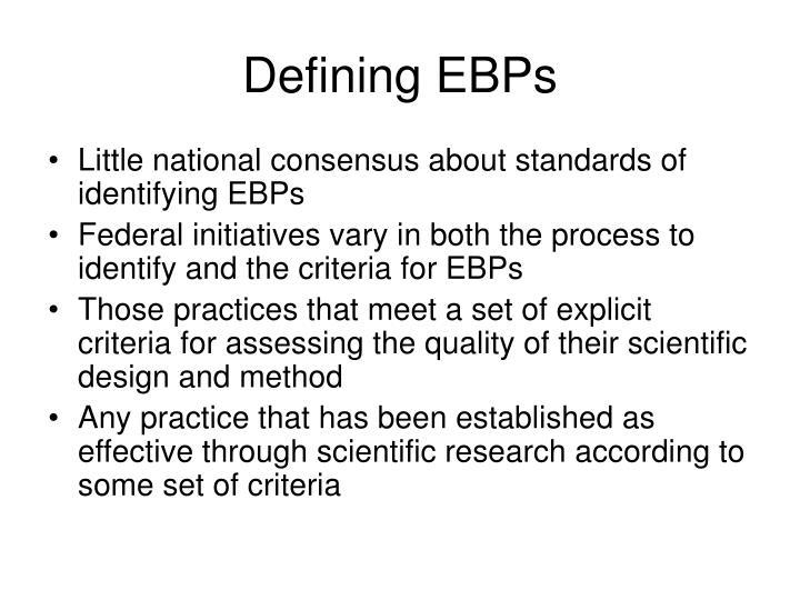Defining EBPs