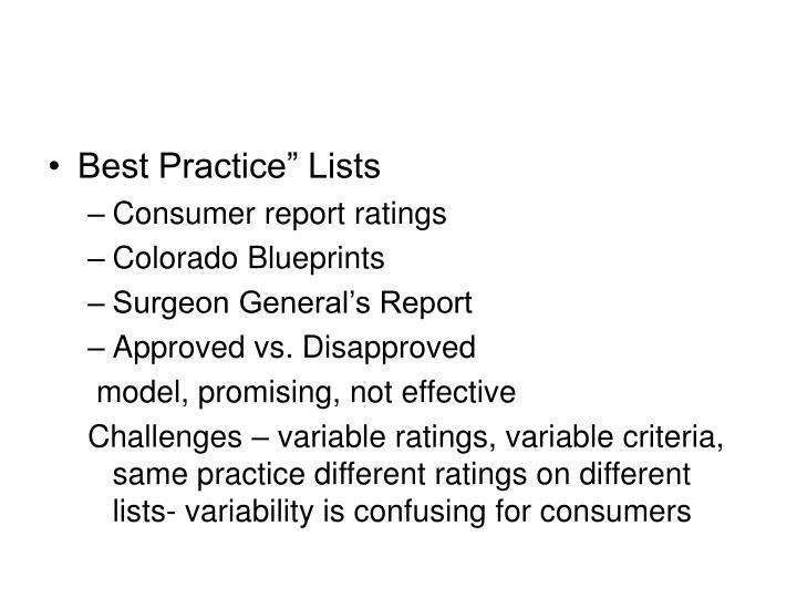 """Best Practice"""" Lists"""