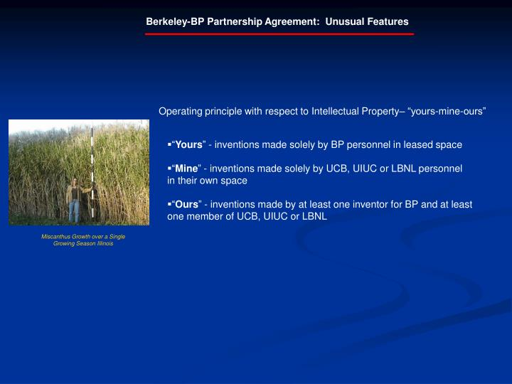 Berkeley-BP Partnership Agreement:  Unusual Features