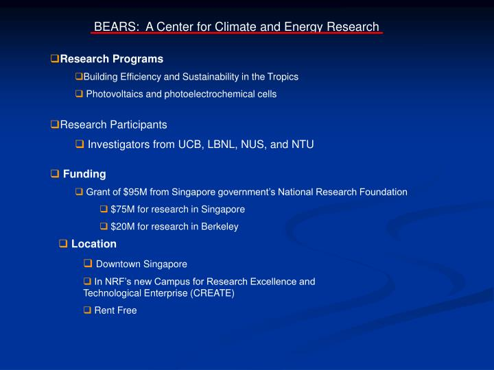 BEARS:  A Center for Climate and Energy Research