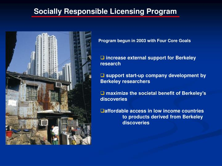 Socially Responsible Licensing Program
