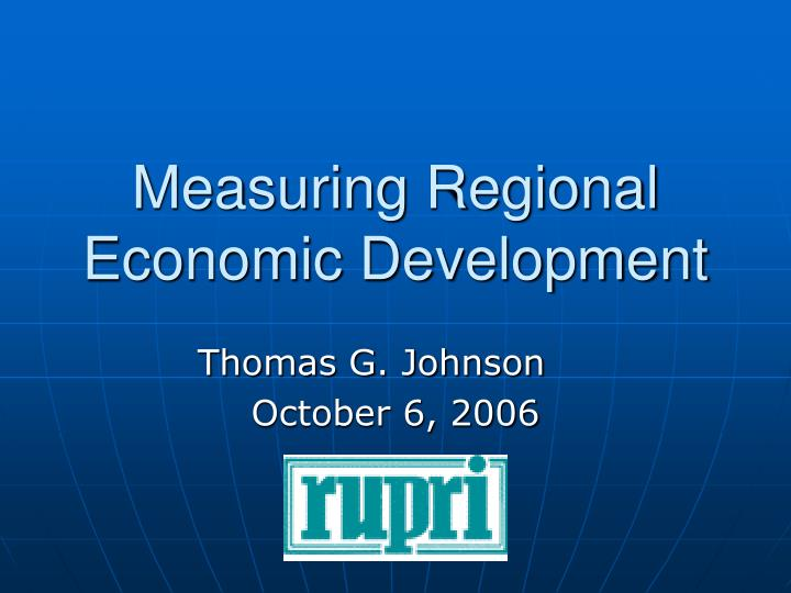 Measuring regional economic development