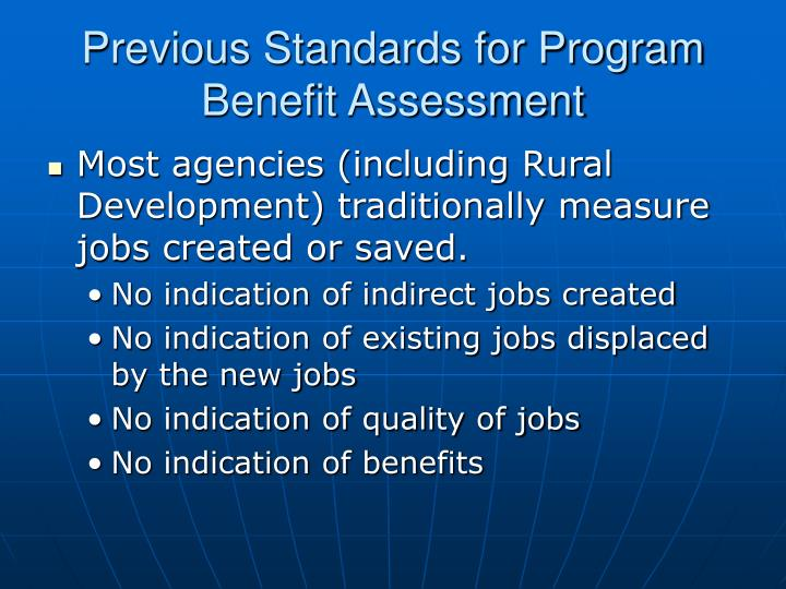 Previous Standards for Program Benefit Assessment