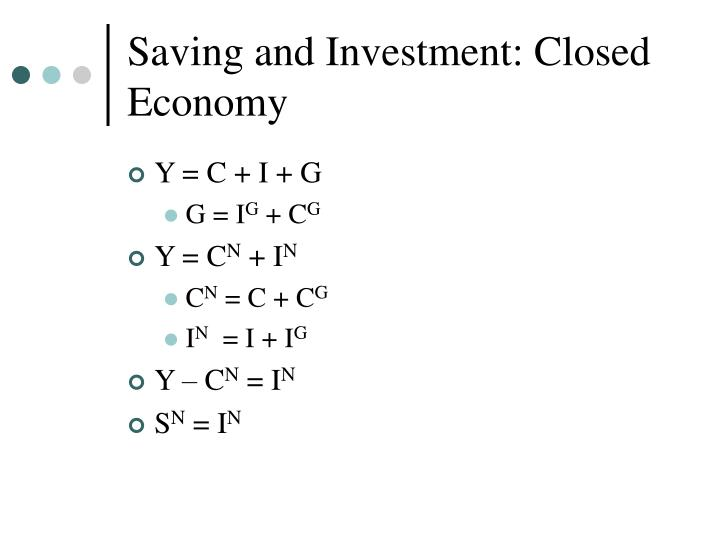 Saving and Investment: Closed Economy