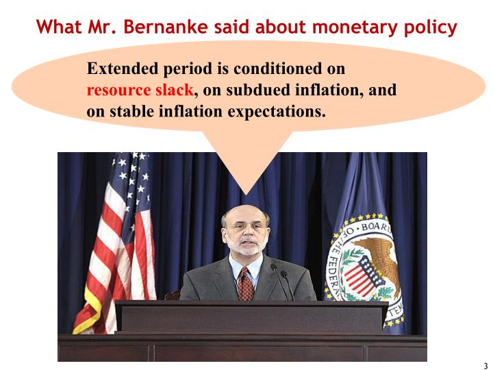 What Mr. Bernanke said about monetary policy