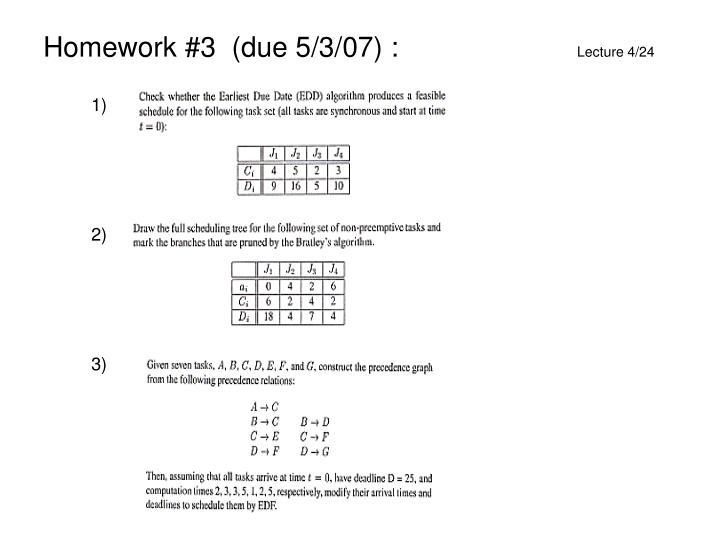 Homework #3  (due 5/3/07) :