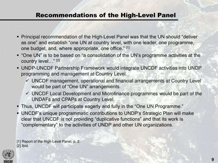 Recommendations of the High-Level Panel