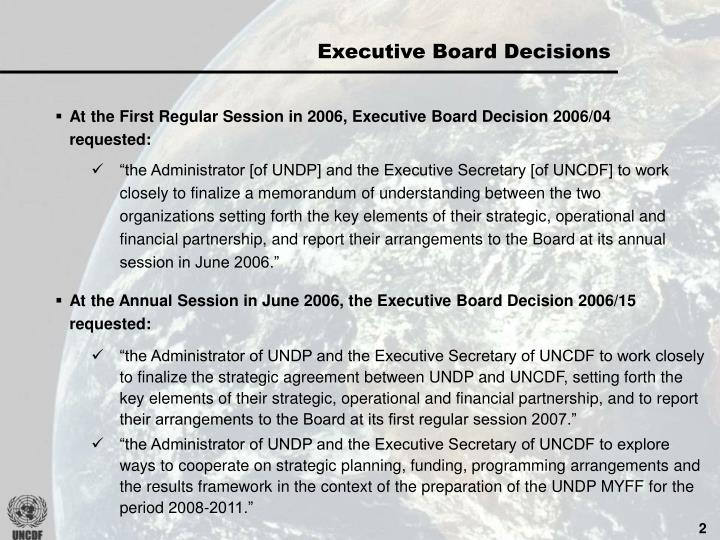 Executive Board Decisions