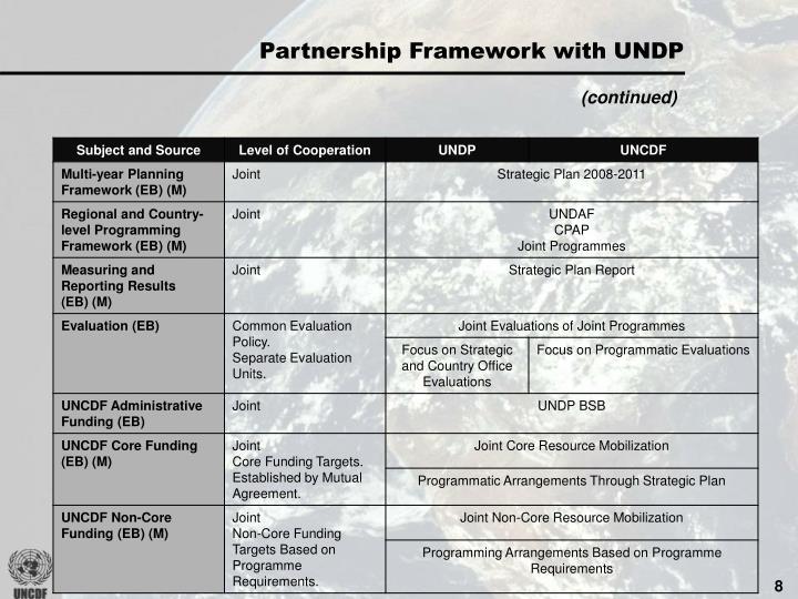 Partnership Framework with UNDP