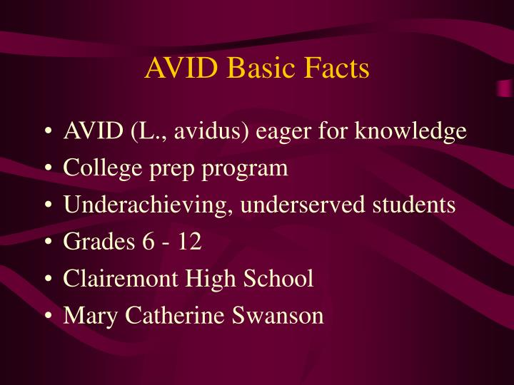 AVID Basic Facts