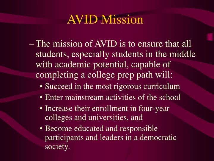 AVID Mission