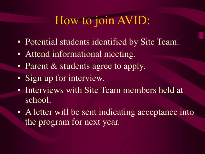 How to join AVID: