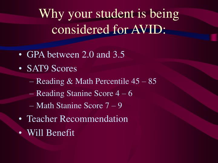 Why your student is being considered for AVID: