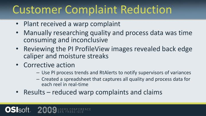 Customer Complaint Reduction