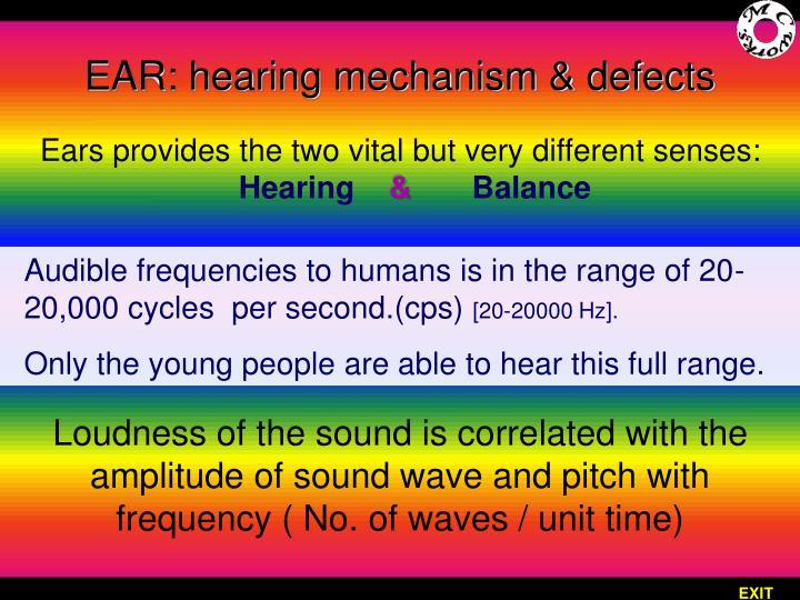 EAR: hearing mechanism & defects