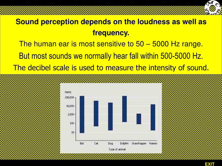 Sound perception depends on the loudness as well as frequency.