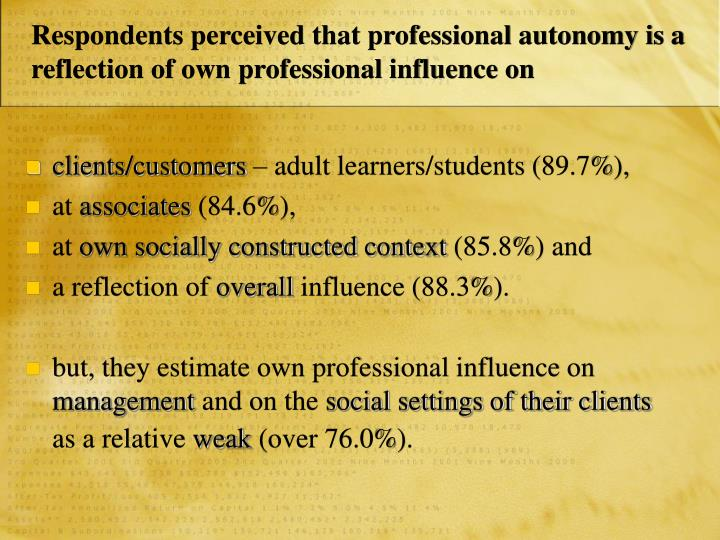 Respondents perceived that professional autonomy is a reflection of own professional influence on