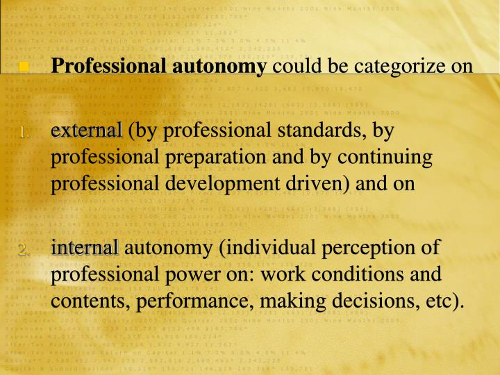 Professional autonomy