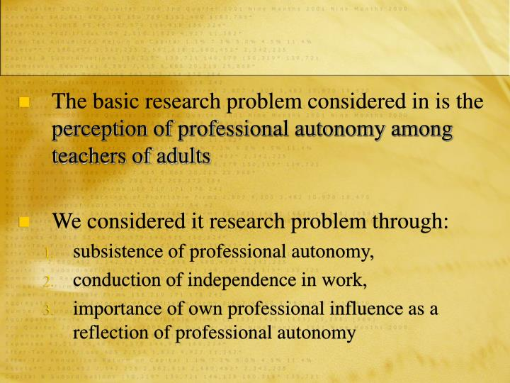 The basic research problem considered in is the