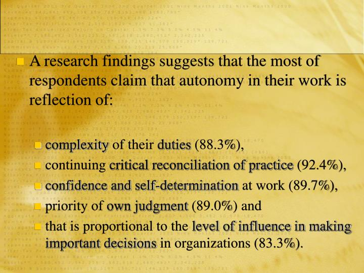 A research findings suggests that the most of respondents claim that autonomy in their work is reflection of: