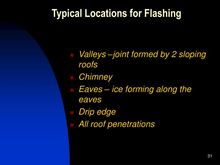 Typical Locations for Flashing