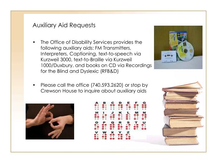 Auxiliary Aid Requests