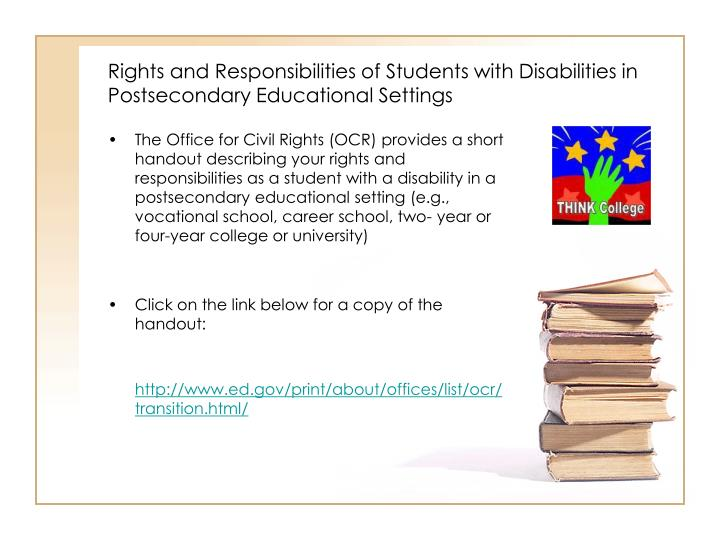 Rights and Responsibilities of Students with Disabilities in Postsecondary Educational Settings
