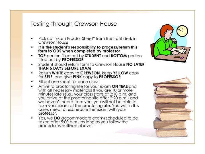 Testing through Crewson House