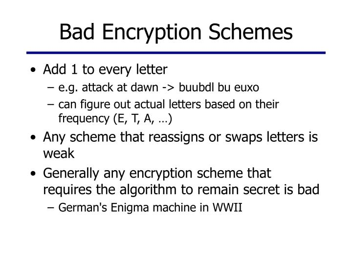 Bad Encryption Schemes