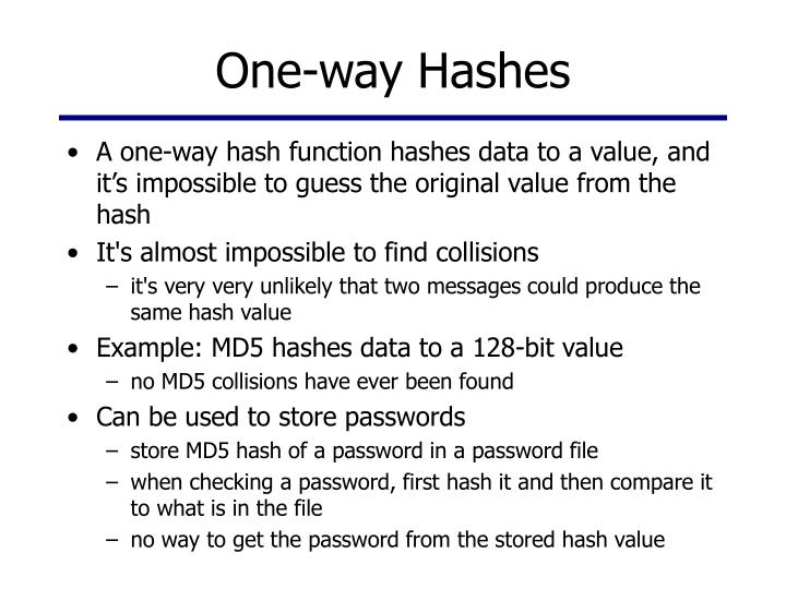 One-way Hashes
