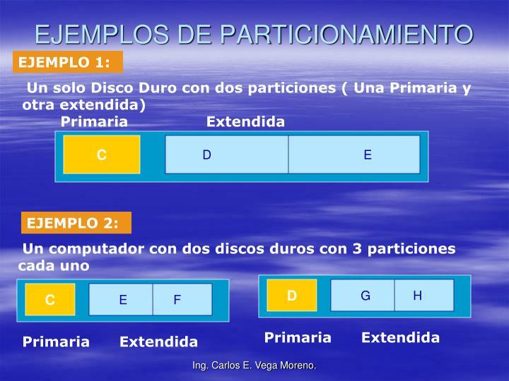 EJEMPLOS DE PARTICIONAMIENTO