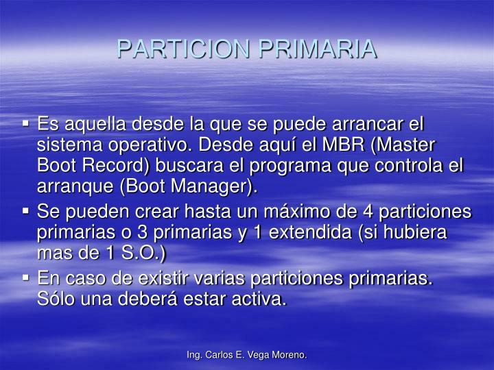 PARTICION PRIMARIA