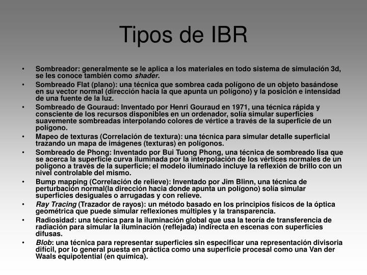 Tipos de IBR