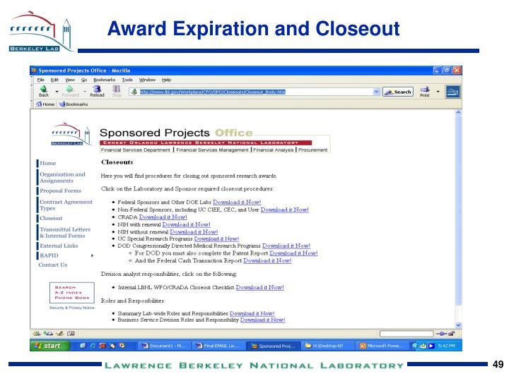 Award Expiration and Closeout