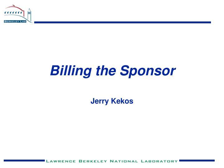 Billing the Sponsor