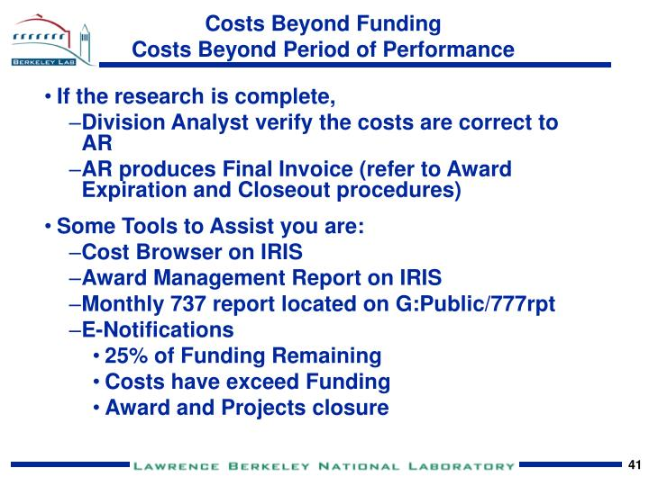 Costs Beyond Funding