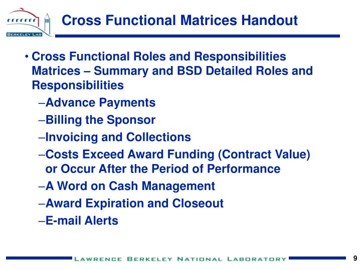Cross Functional Matrices Handout