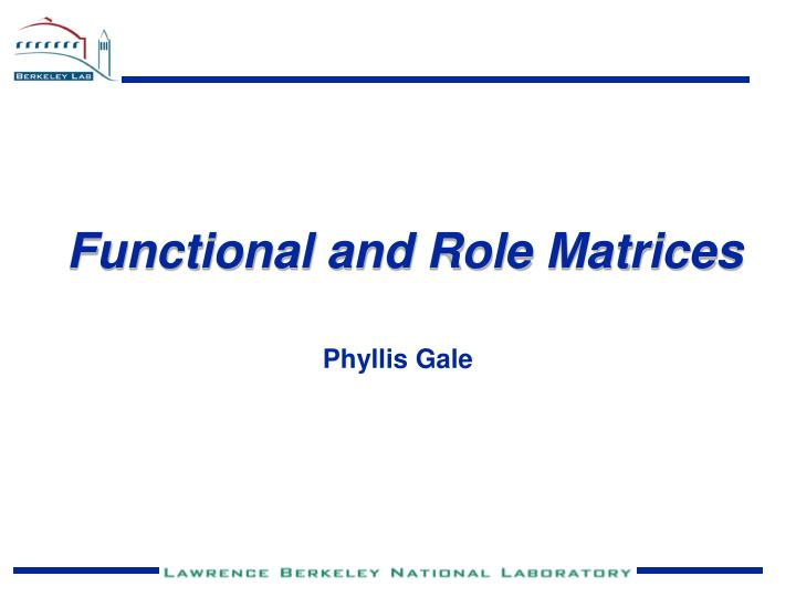 Functional and Role Matrices