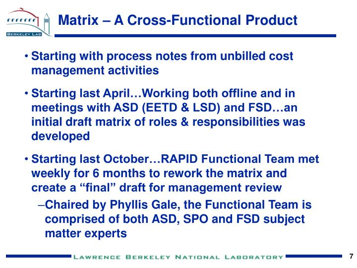 Matrix – A Cross-Functional Product