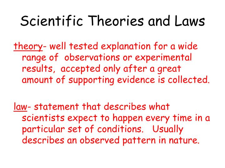 Scientific Theories and Laws