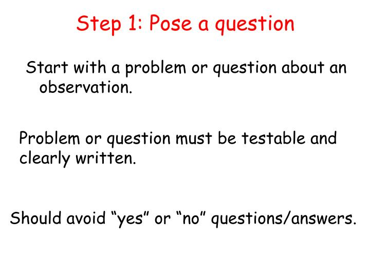 Step 1: Pose a question