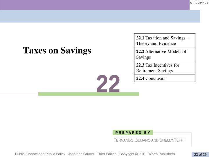 Taxes on Savings