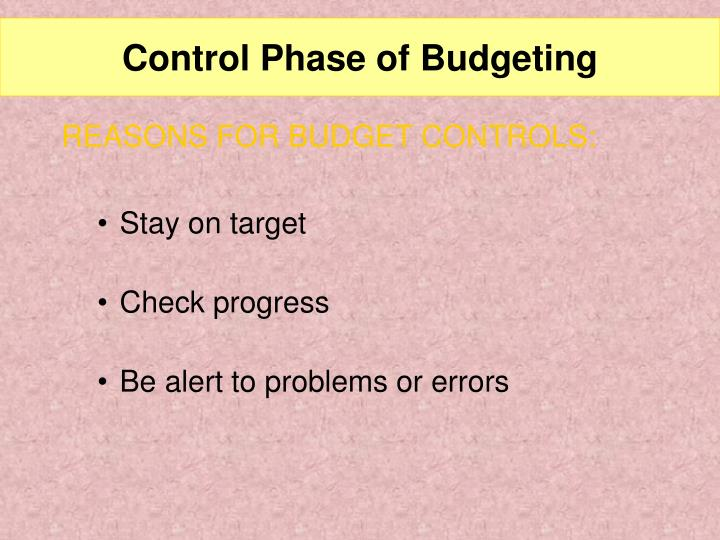Control Phase of Budgeting