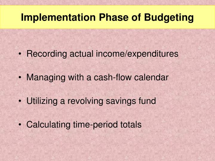 Implementation Phase of Budgeting