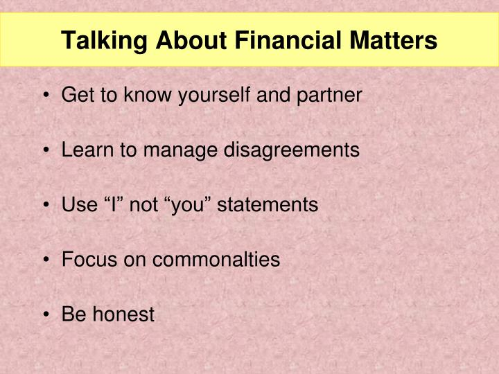 Talking About Financial Matters