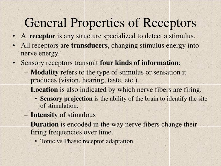General Properties of Receptors