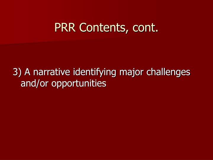 PRR Contents, cont.