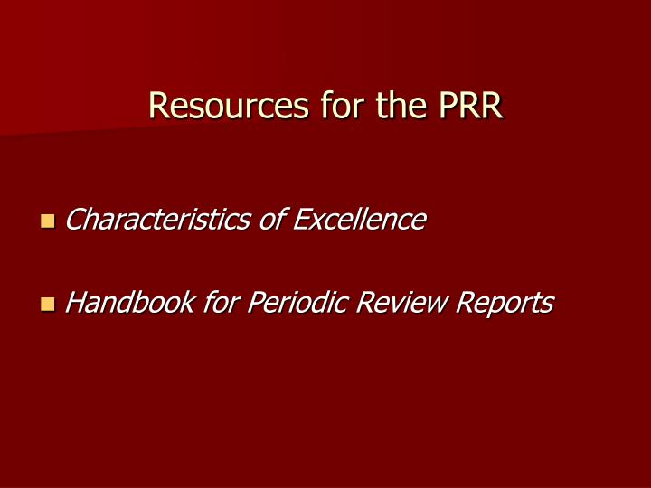 Resources for the PRR