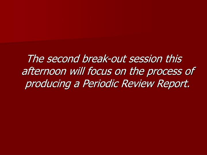 The second break-out session this afternoon will focus on the process of producing a Periodic Review Report.